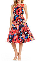 Adrianna Papell Petite Floral Printed Fit-and-Flare Dress