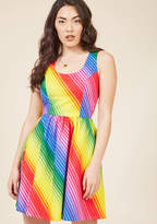 3183 When faced with tough decisions, you let this radiant rainbow-striped dress by Retrolicious do the talking! Unapologetically bright, comfortably cotton, and crafted in LA to include princess seams, a gathered waistline, and pockets, this all-inspiring fro