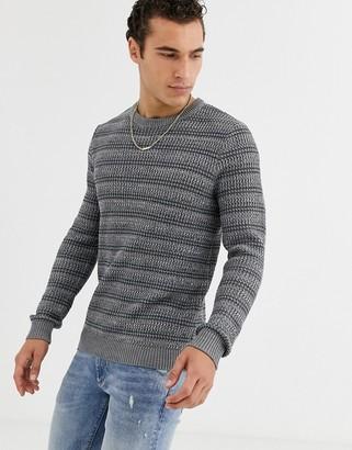 Jack and Jones Originals jumper with textured jacquard in grey