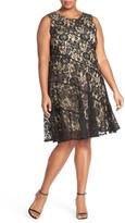 Gabby Skye Lace Panel Fit & Flare Dress (Plus Size)