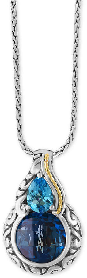 Effy Ocean Bleu London Blue Topaz (5-1/5 ct. t.w.) and Swiss Blue Topaz (3/4 ct. t.w.) Pendant Necklace in Sterling Silver and 18k Gold