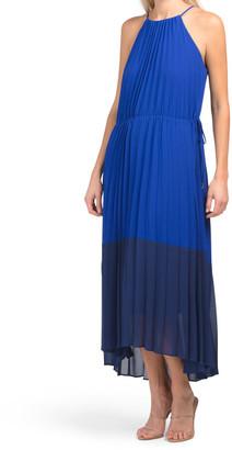 Halter Pleated Midi Dress