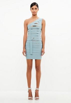 Missguided Blue Bandage One Shoulder Dress