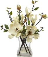 Nearly Natural White Magnolia Arrangement with Vase