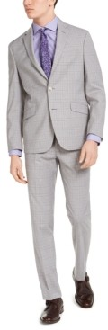 Kenneth Cole Reaction Men's Slim-Fit Techni-Cole Stretch Light Gray Plaid Suit, Created for Macy's