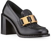 Prada 85mm Topstitch Leather Buckle Loafers