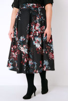 Yours Clothing Black, Pink & Teal Floral Print Flared Midi Prom Skirt