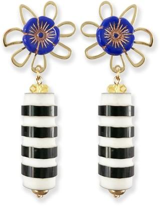 Striped Garden Blue Flower Earrings