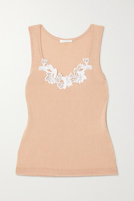 Chloé Guipure Lace-trimmed Ribbed Cotton-jersey Tank - Beige