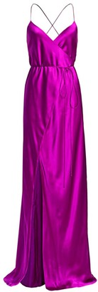 Mason by Michelle Mason Strappy Silk Wrap Gown