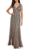 Adrianna Papell Linear Beaded Gown