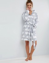 Asos Jersey Robe In Cloud Print In 100% Cotton