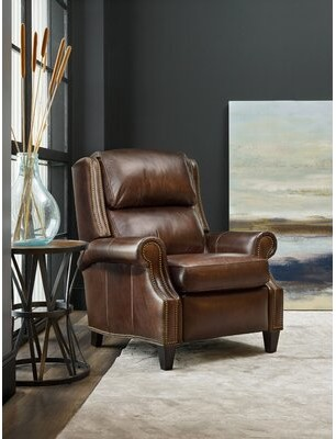 """Thumbnail for your product : Bradington-Young Huss 36"""" Wide Genuine Leather Manual Standard Recliner Reclining Type: Manual"""