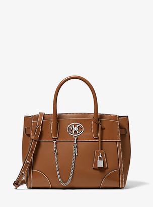 Michael Kors Monogramme Medium Leather Satchel - Luggage Brown