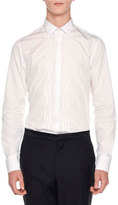 Lanvin Irregular-Pleats Tuxedo Shirt, White
