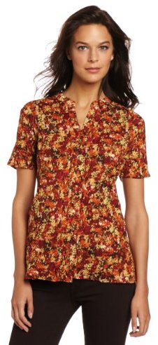 Sag Harbor Women's Printed Woven Button Down Shirt