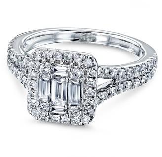 Annello by Kobelli 10k White Gold 3/4 Carat TDW Diamond Rectangular Baguette Cluster Halo Split Shank Engagement Ring