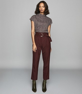 Reiss Pax - Printed High Neck Top in Berry