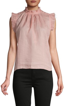 Frame Ruffled Mockneck Top