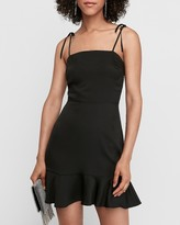 Express Tie Shoulder Ruffle Hem Fit And Flare Dress