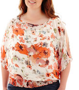 JCPenney BY AND BY by&by Short-Sleeve Print Chiffon Cold-Shoulder Top - Plus
