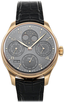 IWC Grey 18k Rose Gold Portugieser Perpetual Calendar IW5034-04 Men's Wristwatch 44 MM