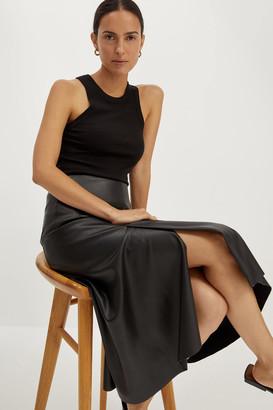 SABA Viv Vegan Leather Midi Skirt