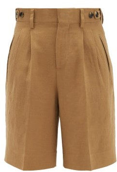 Umit Benan B+ - High-rise Double-pleated Shorts - Camel