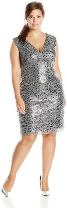 Marina Women's Plus-Size V Neck Sequin Lace Cocktail Dress