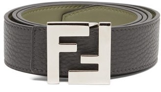 Fendi Ff Leather Belt - Grey Silver