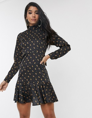 Style Cheat high neck bell sleeve skater dress in ditsy floral-Multi