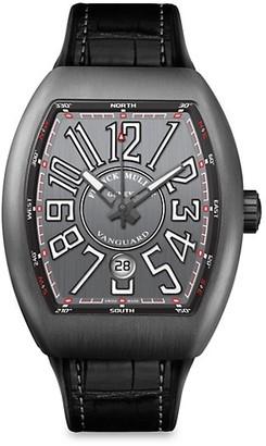 Franck Muller Vanguard Brushed Titanium, Alligator-Embossed Leather & Rubber Strap Watch