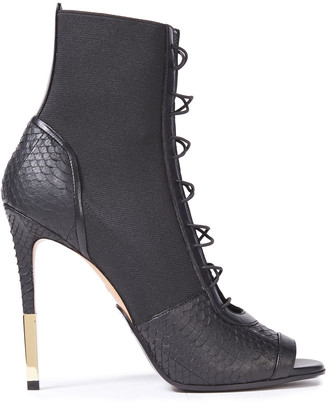 Balmain Lace-up Watersnake And Stretch-knit Ankle Boots