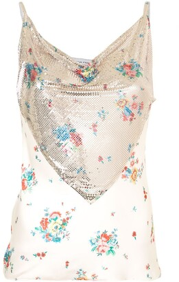 Paco Rabanne Floral Print Chain Mail Camisole