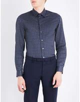 Armani Collezioni Line-patterned Slim-fit Cotton Shirt