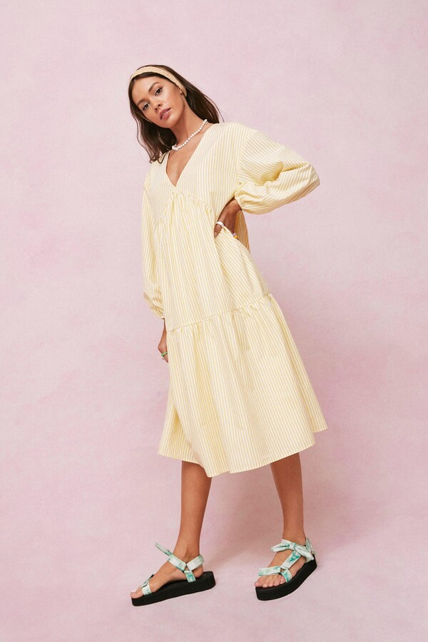 Thumbnail for your product : Nasty Gal Womens Candy Stripe Midi Smock Dress - Yellow - 12
