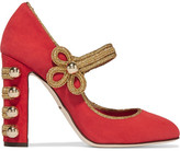 Dolce & Gabbana Embellished Suede Mary Jane Pumps - Red