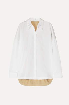 Tibi Two-tone Color-block Cotton-poplin Shirt - White