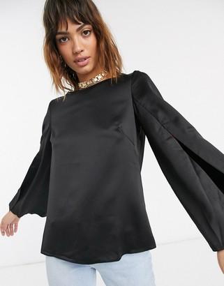 Closet London Closet split sleeve blouse-Black