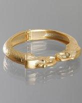 matte gold double elephant head cuff
