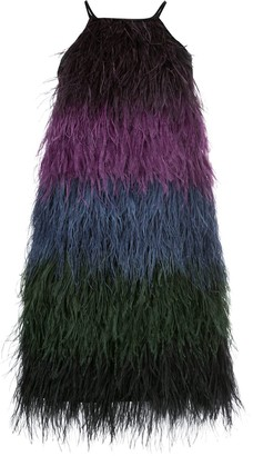 Cynthia Rowley Ivy ombre ostrich feather dress