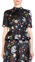 Erdem Isadora Short-Sleeve Floral-Print Peplum Blouse, Black/Multi
