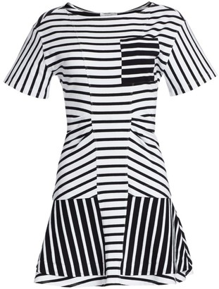 Derek Lam 10 Crosby Short-Sleeve Striped T-Shirt Dress