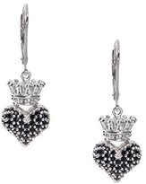 """King Baby Studio Crowned Heart"""" Small 3D Crowned Heart with Pave Black Cubic Zirconia Leverback Earrings"""