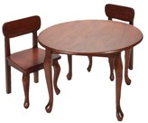 Gift Mark Queen Anne Round Table and 2 Chairs - Cherry