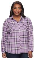 Croft & Barrow Plus Size Flannel Plaid Button-Down Shirt