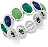Charter Club Silver-Tone Oval-Cut Stone Stretch Bangle Bracelet, Only at Macy's