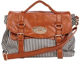 Tryst Style Bags Striped Canvas Satchel