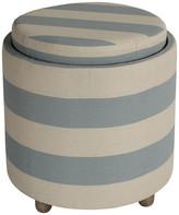 Cortesi Home Keyes Round Storage Ottoman w/ Tray Top, Blue & White Str