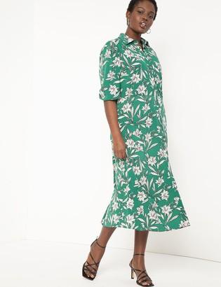 ELOQUII Puff Sleeve Button Front Dress